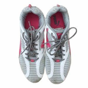 Gray & Pink Puma Sneakers